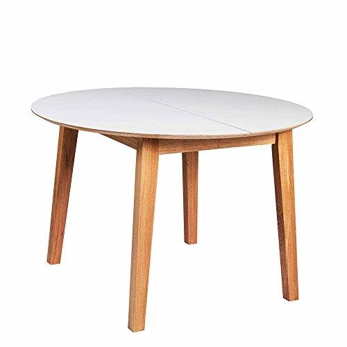Runder Esstisch in Weiß mit Holzbeinen Pharao24