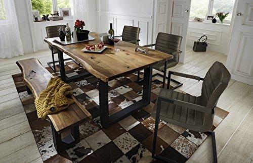 SAM® 6 tlg. Essgruppe Quentin, je 1x Baumkantentisch & -bank, Akazie-Holz, 4x Schwingstuhl Parzivo