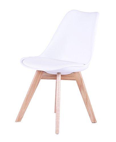 SAM® Design-Schalenstuhl Espo, Weiß, mit integriertem Sitzkissen, massive Beine aus Eiche, ergonomisch geformte Sitzschale, bequemer Esszimmer-Stuhl
