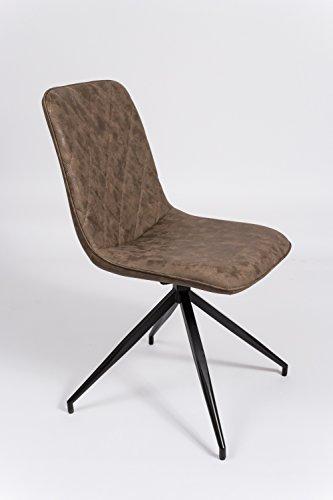 SAM® Esszimmerstuhl Erica, drehbar, Kunstlederbezug in Braun, schwarz lackierte Beine aus Metall, bequeme Polsterung, pflegeleichter Design-Stuhl