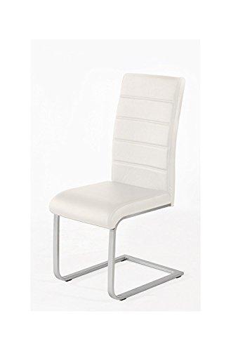 SAM® Freischwinger in creme, Stuhl mit Kunstlederbezug, hoher Komfort, geschwungenes Design, Schwingstuhl mit Edelstahl-Fuß, Strapazierfähig und pflegeleicht [521340]
