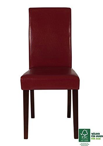 SAM® Polster-Stuhl, Esszimmer-Stuhl in rot mit Samolux®-Bezug, FSC® 100% zertifiziert, massive kolonial-farbene Pinien-Holzbeine, Design-Stuhl für Küche und Esszimmer [521315]