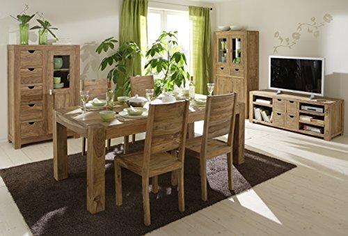 SalesFever 7-tlg. Tischgruppe Yoga, Tisch 200x100 cm, Stühle aus Sheeshamholz, pflegeleichte Essgruppe