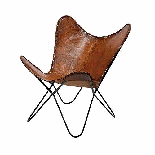 Schmetterling Sessel in Braun Leder Metall (2er Set) Pharao24