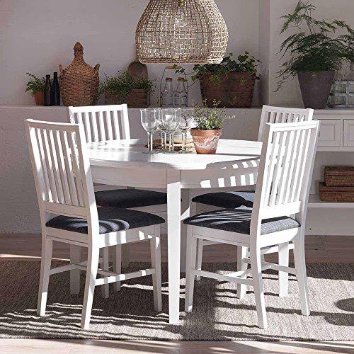 Skandinavische Essgruppe in Weiß Grau mit ausziehbarem Tisch (5-teilig) Pharao24