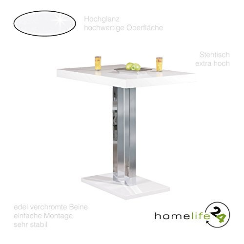 Stehtisch Hochtisch Bartisch Tisch in weiß hochglanz weiss Metall verchromt 110 cm höhe Standfestigkeit für Ihre Küche oder Wintergarten