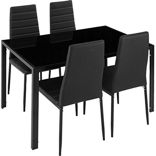 TecTake Esszimmergruppe mit Esstisch und 4 Essstühlen | Strapazierfähiges Kunstleder | Robuste Tischplatte aus Sicherheitsglas - diverse Farben