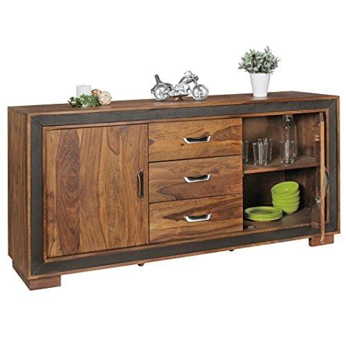 WOHNLING-Design-Sideboard-KARAN-Sheesham-Massivholz-mit-Kunstleder-160x44x80-cm-Anrichte-im-rustikalen-Landhausstil-Kommode-mit-Schubladen-Tren-0