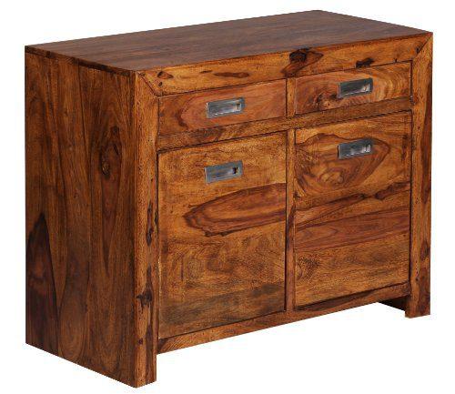 WOHNLING-Sideboard-Massivholz-Sheesham-Kommode-90-cm-2-Schubladen-2-Tren-Design-Highboard-Landhaus-Stil-braun-natur-Echt-Holz-Schubladenkommode-Natur-Produkt-Flur-Mbel-Aufbewahrung-Dielen-Mbel-0