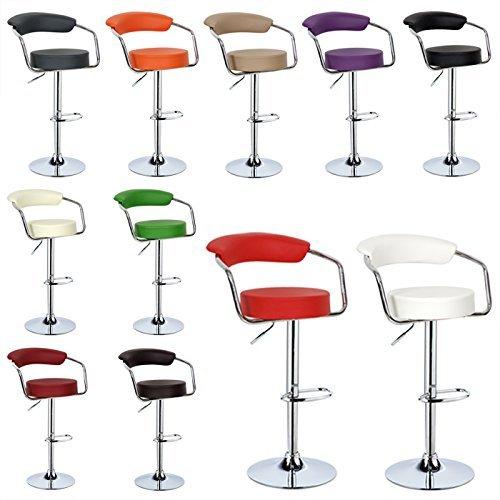 WOLTU® 2 x Barhocker mit Armlehnen Drehstuhl Bar Hocker Barstühle Verchromter Stahl, Lounge 11 Farben #472