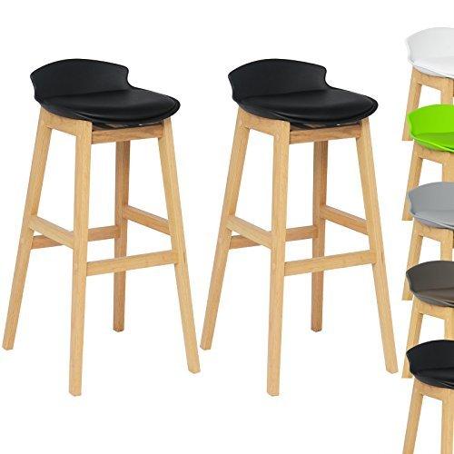 WOLTU® #653 2 x Barhocker 2er Set Barstühle gut gepolsterte Sitzfläche aus Kunstleder Design Stuhl Holz