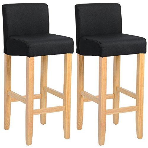WOLTU® #788 Barhocker Bistrostuhl Holz Leinen Bistrohocker mit Rückenlehne, 2er Set, helle Beine aus Massivholz, Antirutschgummi, dick gepolsterte Sitzfläche aus Leinen
