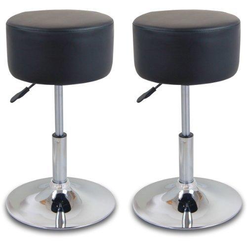 WOLTU #84 1/2 x Barhocker Design Bar Hocker mit Griff , stufenlose Höhenverstellung , verchromter Stahl , Antirutschgummi , pflegeleichter Kunstleder , gut gepolsterte Sitzfläche , 10 Farben