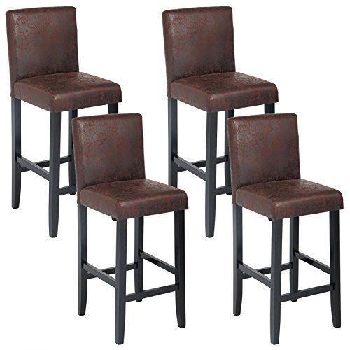 WOLTU® BH38dbr-4 Barhocker Bistrostuhl Bistrohocker mit Lehne, 4er Set, schwarze Beine aus Massivholz, Antirutschgummi, dick gepolsterte Sitzfläche aus Kunstleder, Antiklederoptik, Dunkelbraun