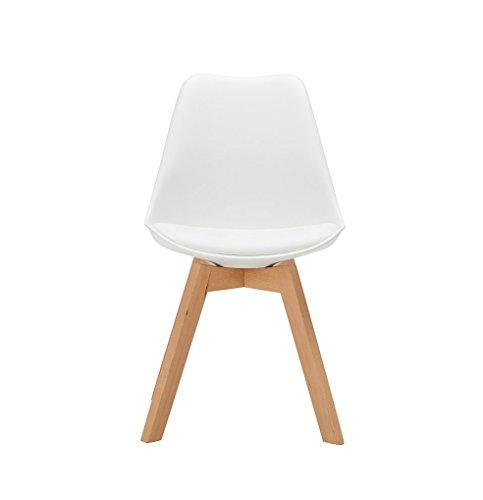 YiLianDa 2er Set Retro Esszimmer-Stuhl ohne Armlehne Küchenstuhl mit Lehne aus Kunststoff Holz Beinen Esszimmerstühle