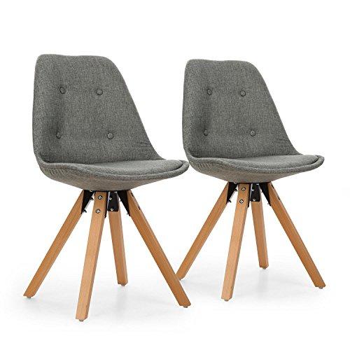 oneConcept Iseo • Schalenstuhl • Retrostuhl • Esszimmerstuhl • 70er-Jahre-Look • Retro-Design • 2er Stuhl-Set • breite, leicht gebogene Sitzfläche • gepolsterte PP-Schale • Sitzhöhe von 47 cm • grau