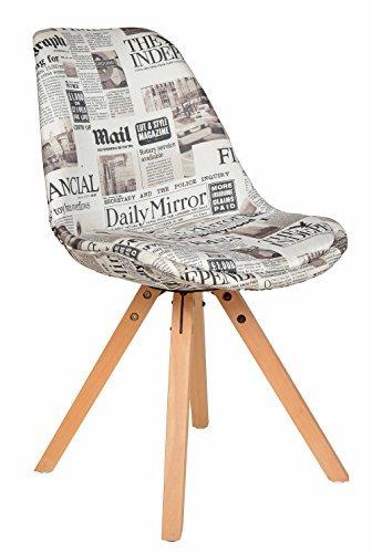 ts-ideen 1x Design Wohnzimmer Esstisch Küchen Stuhl Esszimmer Sitz Polster Weiß Zeitung