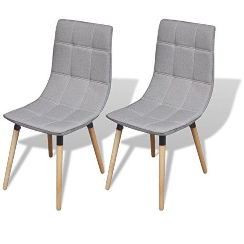 Festnight 2er-Set Esszimmerstuhl-Set Essstuhl Ergonomisch Esszimmerstühle Küchenstuhl Sitzgruppe für Esszimmer Küche - Hellgrau