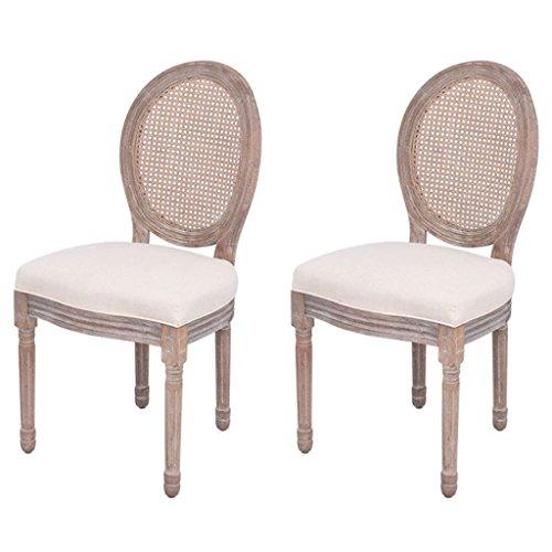 Festnight 2x Esszimmerstühle Küchenstuhl Stuhl Set Leinenbezug und Rattan Beige