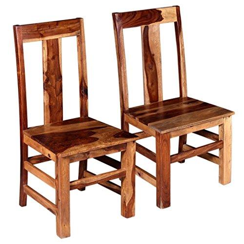 Festnight 2x Esszimmerstühle Küchenstuhl Stuhl Set Massives Sheesham-Holz