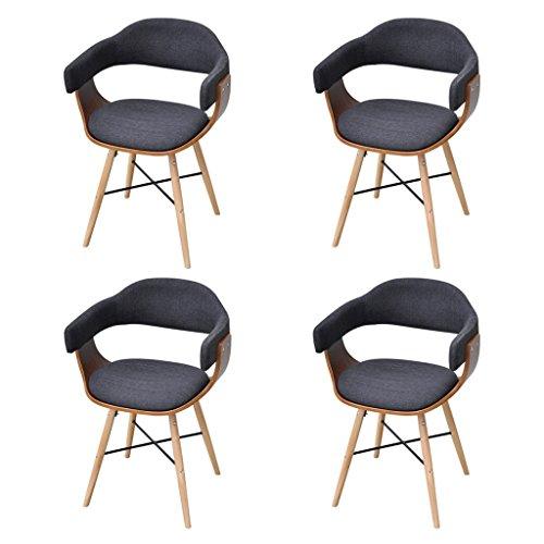 Festnight 4 Stücke Bugholz-Esszimmerstühle Essstuhl Küchenstühle Stuhl Set Esszimmer Sitzgruppe mit Stoffbezug Dunkelgrau