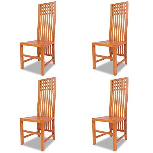 Festnight 4 Stk. Esszimmerstühle Essstuhl Holzstühle Küchenstuhl aus Massives Teakholz Sitzgruppe 46x51x115cm für Küche oder Esszimmer