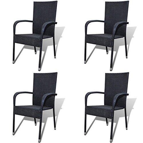 Festnight 4er-Set Gartenstühle Essgruppe Stühle aus Poly-Rattan Gartenstuhl-Set Gartensitzgruppe für Terrasse oder Garten - Schwarz