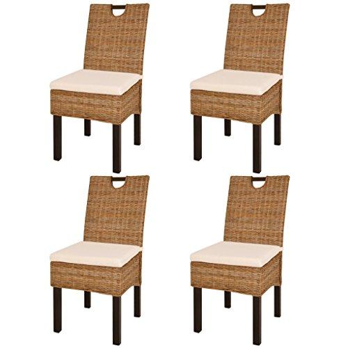 Festnight 4er/Set Esszimmerstühle Rattan Essstuhl aus Kubu-Rattan Mangoholz Küchenstuhl mit Weißem Sitzkissen für Küche Esszimmer