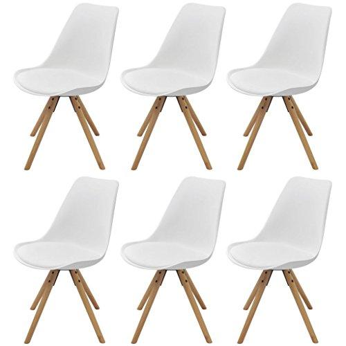 Festnight 6er Set Esszimmerstuhl Küchenstühle Stuhlgruppe Essstuhl Esszimmermöbel Stuhl Kunstleder Weiß