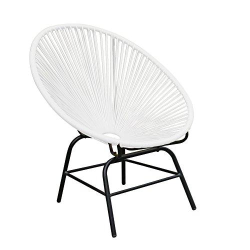 Original Retro ACAPULCO Chair weiß Mexico Stuhl aus Metall Polyrattan Outdoorstuhl weiss für Innen und Außen Rattan Gartenstuhl Sessel