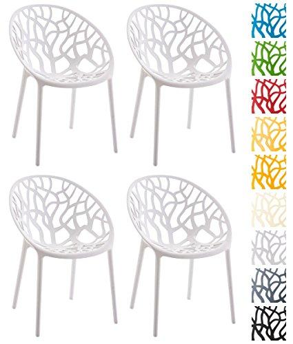 CLP 4er-Set Design Gartenstuhl HOPE aus Kunststoff | Wetterbeständiger stabiler Stapelstuhl mit einer maximalen Belastbarkeit von 150 kg | In verschiedenen Farben erhältlich