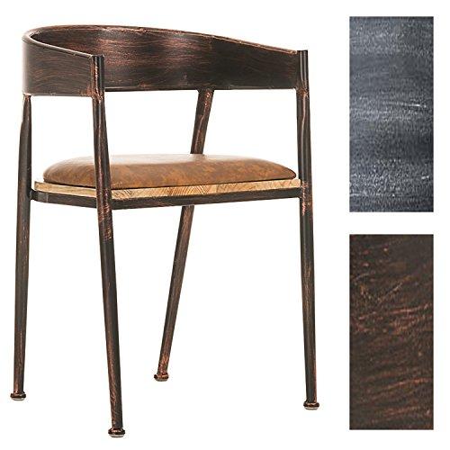 CLP Industrial Design-Stuhl BELVEDERE mit hochwertiger Polsterung und Kunstlederbezug | Metallstuhl mit einer Sitzhöhe von 48 cm