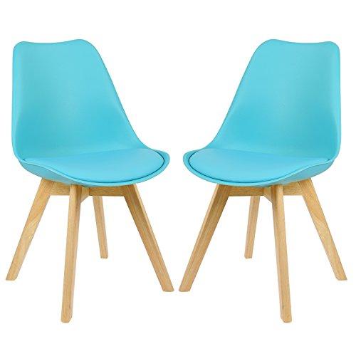EUGAD #364 2 x Esszimmerstühle 2er Set Esszimmerstuhl gepolstert Küchenstuhl aus Kunstleder Kunststoff Farbauswahl