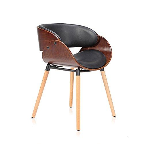Makika Design Stuhl Retro Bürostuhl Vintage Hocker Kunstleder Wohnzimmerstuhl Esszimmerstuhl Küchenstuhl Sessel Holzbeine - Belle in Schwarz/Braun