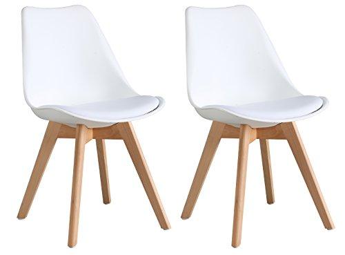OYE HOYE Retro Designer Stuhl Esszimmerstühle Wohnzimmerstühl, mit bequem Gepolsterter Sitz, aus Hochwertigem Strapazierfähigem Kunststoff und Buchenholz, 2er Set
