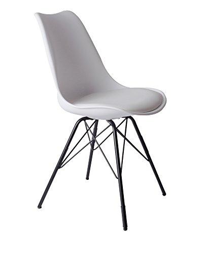 SAM Schalenstuhl Lerche, integriertes Kunstleder-Sitzkissen, schwarze Metallfüße, Esszimmerstuhl im skandinavischen Stil