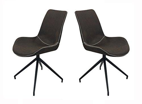 SalesFever 2er-Set Drehstuhl Lilou in Dunkelbraun, schwarz pulverbeschichtete Metallbeine, Sitz- und Rückenpolsterung, 100% Polyester