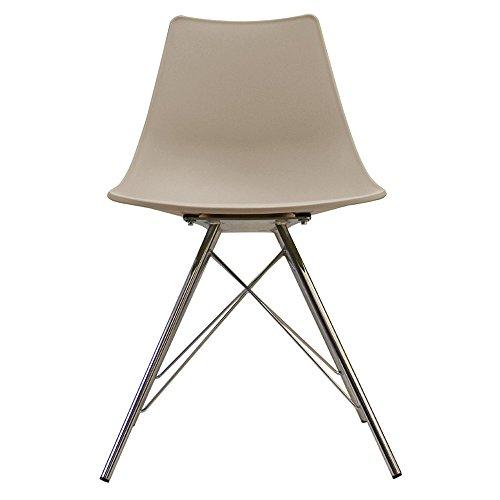 Scandi Retro Stil Designer Kunststoff Stuhl mit Metall Beine