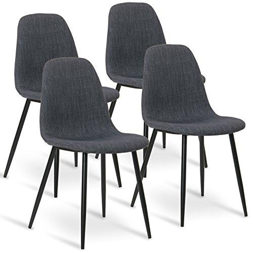 WOLTU® 4 x Esszimmerstühle 4er Set Esszimmerstuhl Küchenstuhl Polsterstuhl Design Stuhl mit Sitzfläche aus Leinen, Gestell aus Stahl, Dunkelgrau BH82dgr-4