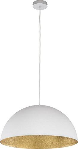 elbmöbel Design Industrie Vintage Deckenleuchte Kronleuchte SOFIE Lampe 34cm 50cm exkl. E27 Leuchtmittel, LED, A++, verfügbar weiß schwarz gold Metall Kupfer Textilkabel Wohn- Esszimmer (Weiß-Gold, 34cm)
