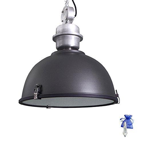Hängeleuchte Schwarz matt im Vintage Fabrik-Lampen Industrial Design E27 Retro Industrie-Leuchte Werkstattleuchte Pendel-Lampe Küchenlampe auch LED geeignet + Giveaway