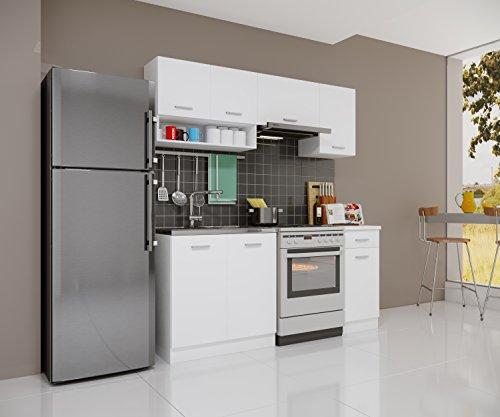 Küchenzeile Gemini weiß matt 180cm Modulküche Einbauküche Küchenblock