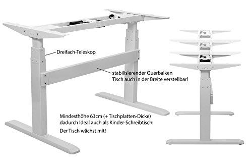 Exeta Elektrisch höhenverstellbarer Schreibtisch (Version 2018) mit 2 Motoren, 3-fach-Teleskop, Memory-Funktion und Softstart/-stopp, elektrisch höhenverstellbares Tischgestell - passend für alle gängigen Tischplatten