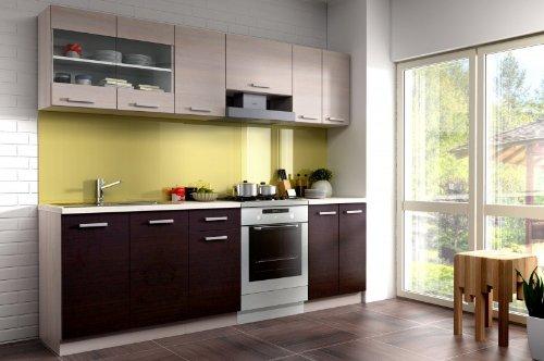 Küche Mary 240 cm Küchenzeile/Küchenblock variabel stellbar in Eichenholzoptik Chamonix hell/dunkel