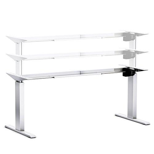 Ergobasis elektrisches Tischgestell Light Silber (Best-Price), stufenlos höhenverstellbar von ca. 70 bis 116 cm, preiswertes Alu-Leichtbau-Gestell mit 1 Elektromotor als ergonomischer Steh-/Sitz- Schreibtisch für Arbeitsplätze und Home-Office