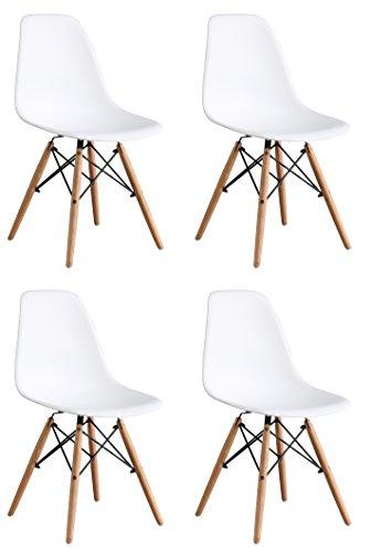 OYE HOYE Retro Desigher Stuhl Esszimmerstühle Wohnzimmerstühl, aus Hochwertigem Strapazierbarem Kunststoff und Buchenholz - 4er Set / Weiß
