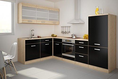 TOP Küche Lina 180x280cm Küchenzeile Schwarz / Buche Iconic Küchenblock NEU&OVP