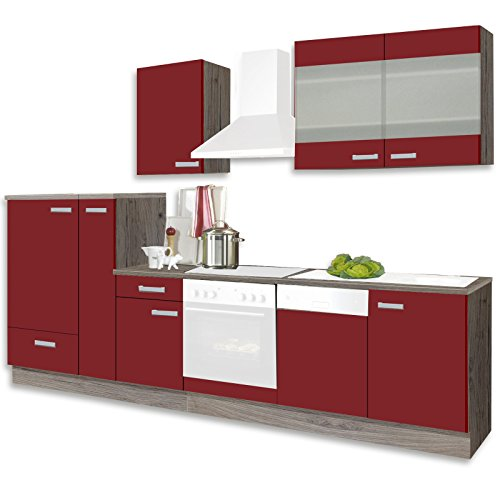 Unbekannt Küchenblock RONJA - rot-Sonoma Trüffel - 300 cm