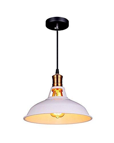 Splink Vintage Pendelleuchte Hängelampe Industrie Deckenlampe / Deckenleuchte, E 27 Fassung Fabrik Messing Lampenschirm,Wieß