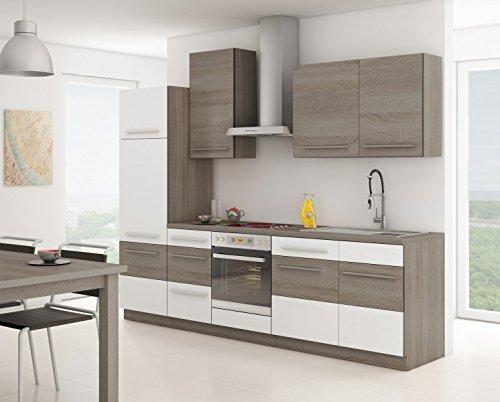 Küche Milo 280cm Küchenzeile / Küchenblock variabel stellbar in Weiss - Sonoma Eiche Trüffel